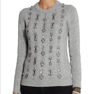Tory Burch Gray Sweater w gems sz M
